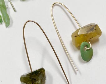 SOLD - Long 12k Gold Fill Hook Balance Earrings With Large Citrine Nugget and Vintage Turquoise