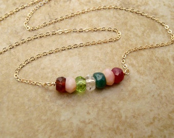 Mother's birthstone necklace - Grandmother Grandkids birthstones - Dainty gold necklace in your choice of birthstones
