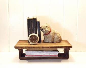 Vintage Wooden Shelf, Old Desk Top, Display, Wall Decor or Free Standing Shelf