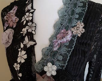 art to wear, wearable art, dramatic romantic, black lace jacket, bohemian clothing, handmade couture, vintage beads