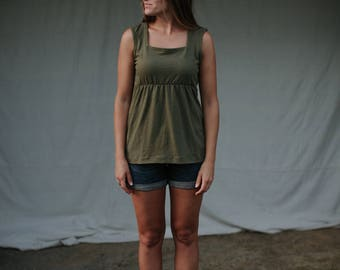 Womens Jersey Knit Tank top  Made in the USA - Made to Order - Louise Empire Square Neckline Tank Top