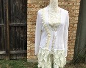 Altered Women's White Sweater with Off-White Trim, Altered Couture, Maglonia Pearl Style- Large, Shabby Chic Top, Romantic Top, Crochet Lace