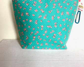 DITSY ROSE Sock Project bag ,knitting,crochet,crafts small zipped
