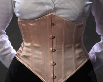 SALE Underbust Corset in Peach Satin, c.1900 Waspie waist cincher, pastel pink, size small ready to ship