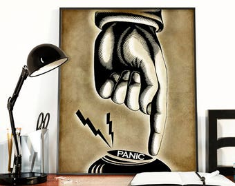 The Panic Button, boss gift, funny office art, funny dorm poster, funny wall art, pointing finger, vintage manicule, tan black decor, unique