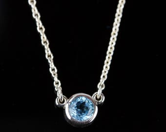 """Select a Stone - Birthstone Solitaire Necklace - Solid 14k Gold - Rose or White or Yellow Gold - 18"""" Chain"""
