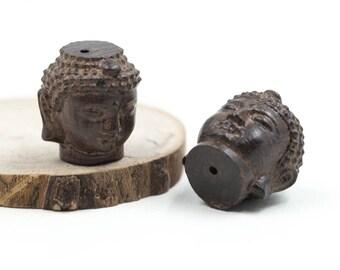 Wood Buddha Beads, 2pcs, Buddha Head, 23x18mm, Wood Pendants -C657