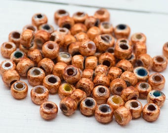 Light Orange  Crow Beads, 100pcs, 9mm, Orange Beads, Pony Beads, Large Hole  Beads -B94