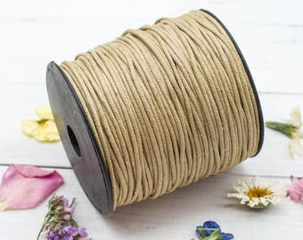 Natural Waxed  Cotton Cord, 2mm,    Necklace  Cord, Waxed Cord, Jewellery  Cord, 100 Meters -JC04