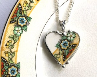 Broken china jewelry - heart pendant necklace - 1920 - antique Art Deco - floral transferware china - recycled china