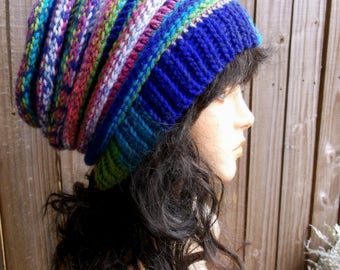 Crochet Accordion Hat, Slouch Hat, Winter Hat, Crochet Hat, Womens Hat, Ribbed Beret, Unisex Winter Hat in a Wonderful Mix of Colors