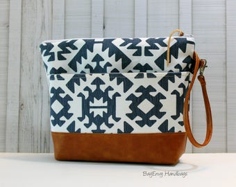 Aztec in Gunmetal with Vegan Leather or Design Your Own - Large Zippered Diaper Clutch / Toddler Bag - Attach to Stroller