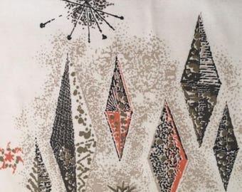 RARE - 60s Eames Era Print// Celestial Starbursts in Apricot/Brown & Taupe Kites against Off White Ground