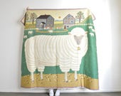 LARGE vintage wool farm textile . woven country sheep folk wall tapestry