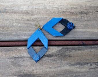 Blue and Black Earrings|Geometric Earrings|Wood Earrings|Handmade Dangle Earrings|Afrocentric Earrings|mPERFEKtion Earrings|mPER243