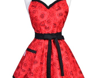 Sweetheart Pinup Womens Apron / 50s Style Glamour Red Roses Trimmed in Black Flirty Sexy Kitchen Hostess or Gift Apron with Pocket (FM)
