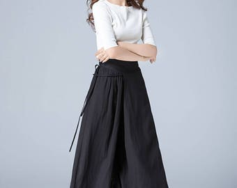 black pant, linen pant, wide leg pant, fiited pant, womens trousers, loose fitting pant, wrap pants, casual pant, hippie pants  1771