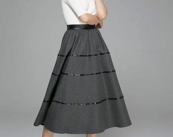 wool skirt, dark grey skirt, high waisted skirt, midi skirt, winter skirt, fitted skirt, womens skirt, warm skirt, casual skirt (1376)