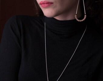 Will earrings - Teardrop statement sterling silver earrings with leather wrap