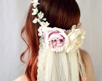 Blush pink flower crown, flower crown veil, bridal hair wreath, mauve pink floral crown, woodland wedding, circlet, wedding hair accessories