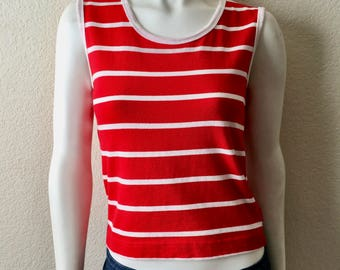Vintage Women's 80's Esprit, Striped, Tank Top, Red, White (S)