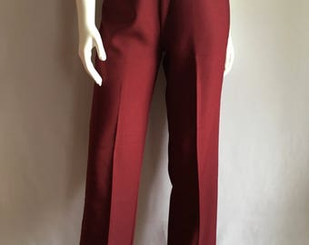 Vintage Women's 80's Burgundy Polyester Pants, High Waisted, Bell Bottoms by Teddi (M)
