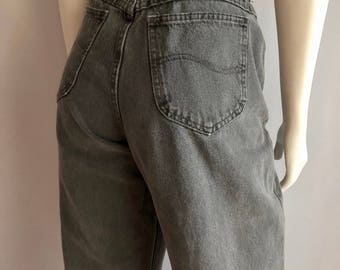 Vintage Women's 80's Gray, Lee Jeans, High Waisted, Tapered Leg, Denim (XL)