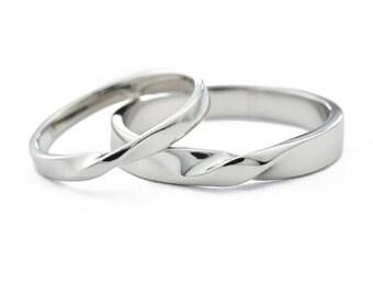 Platinum Wedding Ring Set, Twisted Wedding Ring Set, Mobius Twist Rings Wedding Band Set