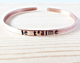 Je T'aime, skinny cuff bracelet, best friend gifts for women, for wife from husband, french, I love you, personalized, copper, minimalist