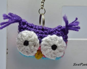 Owl, stuffed owl, Stuffed toy, Owl keychain, Purple, Pink, Turquoise, stuffed animal, crochet owl purse charm, owl bag charm, mirror dangler