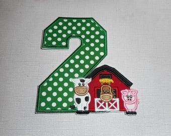 Free Shipping Ready to Ship Birthday farm animals  Machine Embroidery Iron on applique