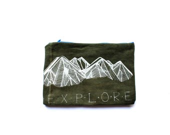 EXPLORE Olive Jean Zip Pouch, Travel Organizer, Clutch Pencil Case, Small Zip Pouch, Toiletries Upcycled Small Pouch Mountains Gift for Her