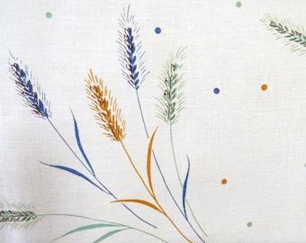 Vintage, Table Cloth, Table linens, Cotton, Linen, tableware, Danish, Retro, Fiber Arts, Wheat pictures, Floral design, White Background,