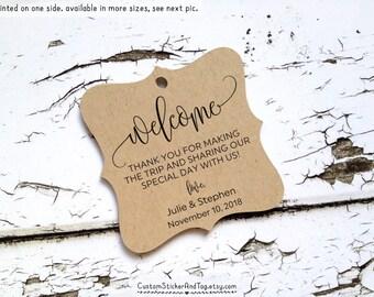 24 welcome tags, custom wedding tags, destination wedding, kraft tags, welcome bag tags (T-145)