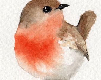 Little Red Robin - original watercolour