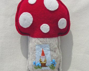 Gnome Toadstool Mushroom Pincushion Ornament Decor - Heather Ross Gnome - Hand Stitched - Felted Wool Art