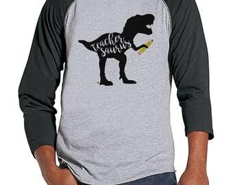 Funny Teacher Shirts - Dinosaur Teachersaurus - Teacher Gift - Teacher Appreciation Gift - Dino Tee - Gift for Teacher - Men's Grey Raglan