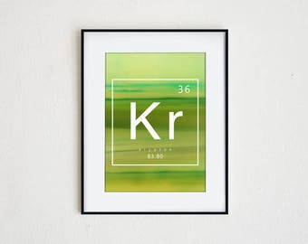 KRYPTON | instant download, periodic table print, printable wall art, science decor, modern table of elements graphic, abstract photography