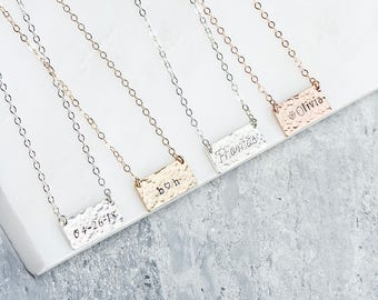 Hammered Custom Hand Stamped Script Necklace, Small Name Necklace, Little Short Bar Necklace, Bridesmaids Gifts, Small Date Necklace