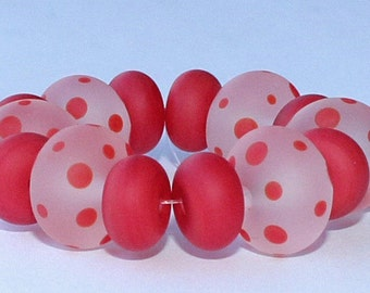 "Handmade Lampwork Beads, 14 Pieces ""Matte Clear and Red"", Size about 8.1 to 12.0 mm"