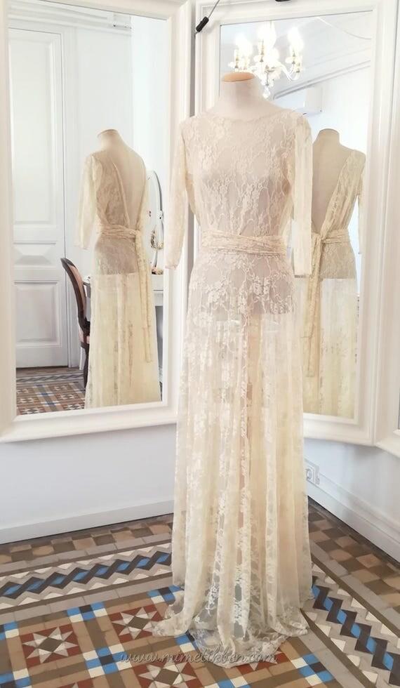 Cream Lace Wedding Dress