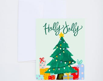 Holiday Greeting Cards - Holly Jolly - Christmas Tree And Presents - Single A-2 Card