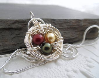 Christmas Bird Nest Necklace Birds Nest Pendant Red Pearls Gold