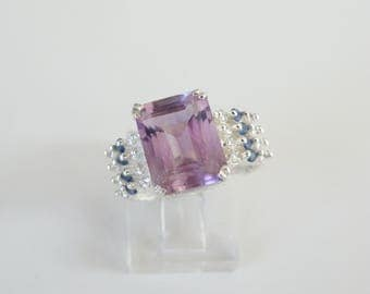 Vintage Sterling Silver 925 Genuine Amethyst Sapphire White Topaz Unique Beaded Ring Size 7.5