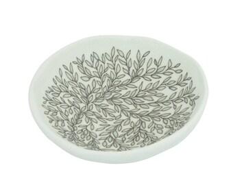 Hand Painted Vine Fine Jewelry Dish by SKT Ceramics