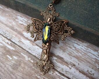 Swarovski Crystal Butterfly Cross Copper Necklace - N251