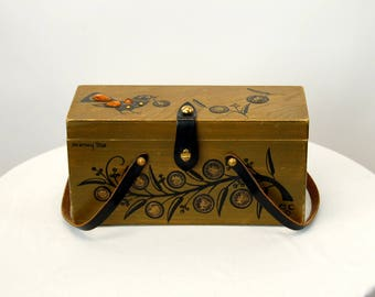 Enid Collins box purse Money Tree with coins handpainted copyrighted signed handbag leather handles 1960s
