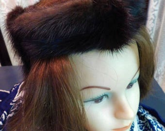 Vintage 1940s Mink Open Crown Hat or Hair Fascinator Rich Dark Brown