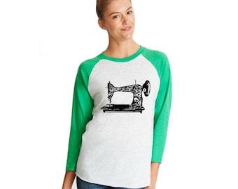 Sewing Machine Unisex Baseball Tee Shirt, Gift For Seamstress, Sewing Gifts, Seamstress Gift, Hand Sreenprinted, 3/4 Sleeve, Soft Triblend