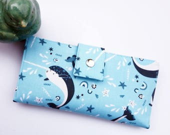 Narwhal women's wallet, narwhal gift, whale gift, ocean lover gift, women's wallet, checkbook wallet, vegan wallet, credit card wallet